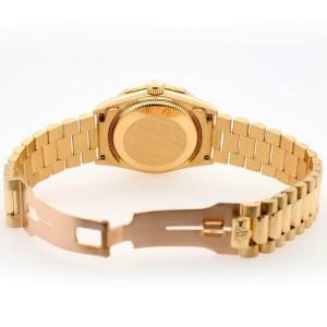 Rolex President Datejust 31mm Diamond Bezel/IceBlue Roman Dial Yellow Gold Watch