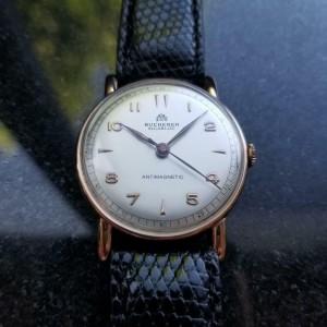 Mens Bucherer Ref.1148 35mm 18K Rose Gold 1960s Manual Vintage Watch LV363