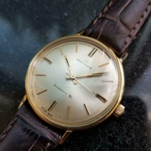Mens Movado Kingmatic S 1960s 34mm 14k Solid Gold Automatic Swiss Vintage GP9BRN
