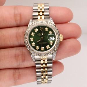 Rolex Datejust 26mm 2-Tone Gold/Steel Watch Diamond Bezel/Forest Green Dial