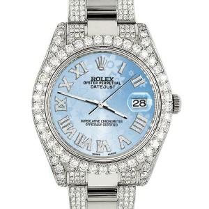 Rolex Datejust II 41mm Diamond Bezel/Lugs/Bracelet/Blue Flower Roman Dial Watch
