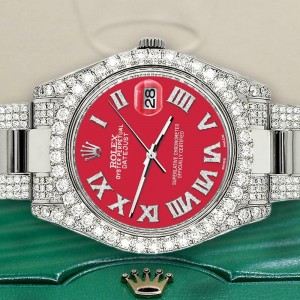 Rolex Datejust II 41mm Diamond Bezel/Lugs/Bracelet/Scarlet Red Roman Dial Watch