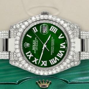 Rolex Datejust II 41mm Diamond Bezel/Lugs/Bracelet/Green MOP Dial Steel Watch