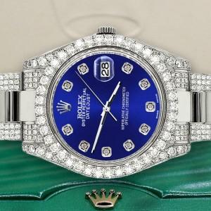 Rolex Datejust II 41mm Diamond Bezel/Lugs/Bracelet/Navy Blue Diamond Dial Watch