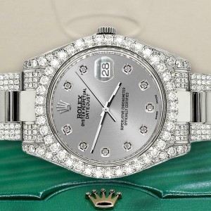 Rolex Datejust II 41mm Diamond Bezel/Lugs/Bracelet/Silver Diamond Dial Watch