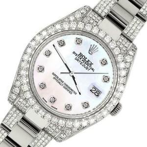 Rolex Datejust II 41mm Diamond Bezel/Lugs/Bracelet/White Pearl Dial Watch