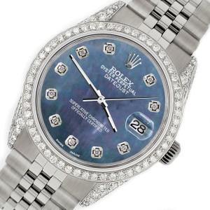 Rolex Datejust 36mm Steel Watch 2.85ct Diamond Bezel/Pave Case/Black Pearl Dial
