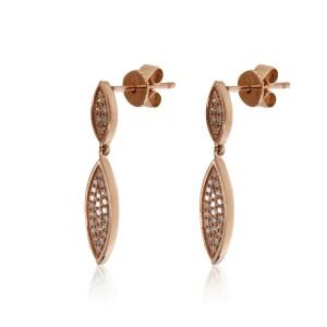 Pave Diamond Teardrop Earrings 14K Rose Gold 0.17ctw
