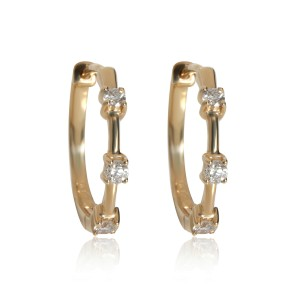 Diamond Station Hoop Earring 14K Yellow Gold 0.21 ctw