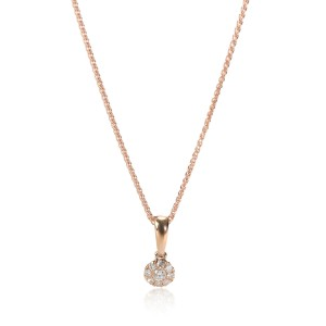 Diamond Cluster Pendant Necklace 14K Rose Gold 0.07 ctw