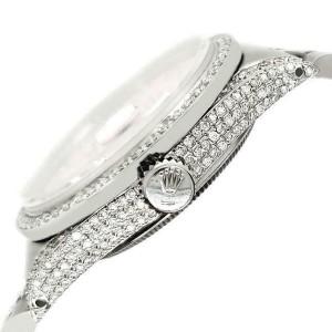Rolex Datejust 36mm Steel Watch 2.85ct Diamond Bezel/Pave Case/Navy Blue Dial