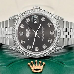 Rolex Datejust 36mm Steel Watch 2.85ct Diamond Bezel/Pave Case/Rhodium Grey Dial