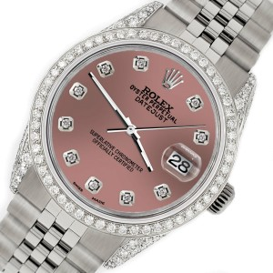 Rolex Datejust 36mm Steel Watch with 2.85ct Diamond Bezel/Pave Case/Salmon Dial