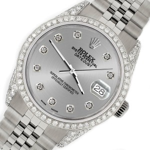 Rolex Datejust 36mm Steel Watch with 2.85ct Diamond Bezel/Pave Case/Silver Dial