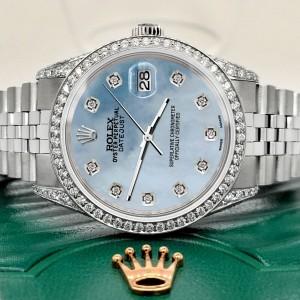Rolex Datejust 36mm Steel Watch 2.85ct Diamond Bezel/Pave Case/Sky Blue MOP Dial