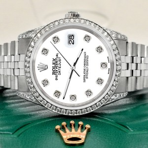 Rolex Datejust 36mm Steel Watch with 2.85ct Diamond Bezel/Pave Case/White Dial