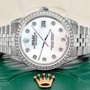 Rolex Datejust 36mm Steel Watch 2.85ct Diamond Bezel/Pave Case/White Pearl Dial