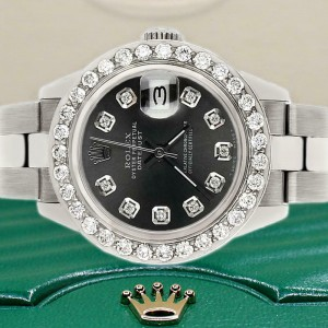 Rolex Datejust 26mm Steel Watch 1.3ct Diamond Bezel/Black Raven Diamond Dial