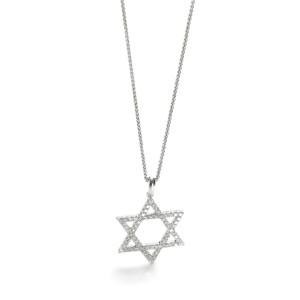 Diamond Star of David Pendant Necklace in 14K White Gold
