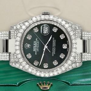 Rolex Datejust II 41mm Diamond Bezel/Case/Bracelet/BlackMOP Dial Watch BoxPapers
