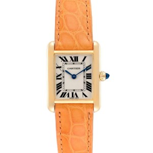 Cartier Tank Louis 18k Yellow Gold Brown Strap Ladies Watch W1529856