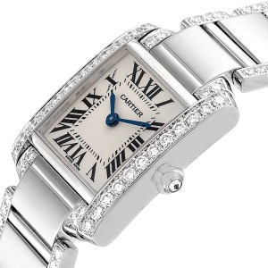 Cartier Tank Francaise White Gold Diamond Ladies Watch WE1002SF