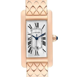 Cartier Tank Americaine Midsize 18K Rose Gold Ladies Watch W2620032