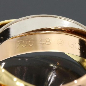 Cartier Trinity 18K Pink White Yellow Three Bands Ring Size 4.5