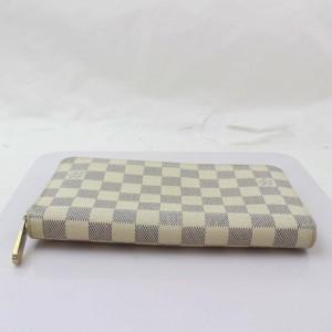 Louis Vuitton Damier Azur Long Zippy Organizer Wallet Zip Around White 871029