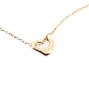 Tiffany & Co. Elsa Peretti Open Heart Pendant Necklace 18K Rose Gold 11mm