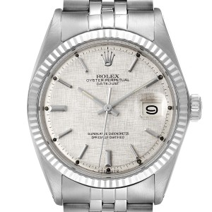 Rolex Datejust Steel White Gold Linen Dial Vintage Mens Watch 1601