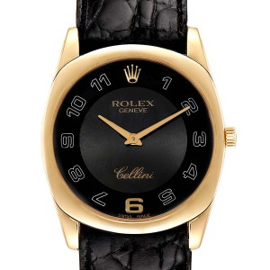 Rolex Cellini Danaos White and Rose Gold Brown Strap Mens Watch 4233