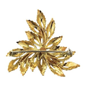 Tiffany & Co. 18K Yellow Gold Sapphire Leaf Floral Brooch Pin