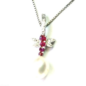 18K White Gold Diamond and Ruby Dragonfly Pendant Necklace