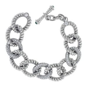 Judith Ripka 925 Sterling Silver with Cubic Zirconia Curb Link Bracelet