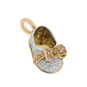 Aaron Basha 18K Two Tone Gold Pink & White Diamond Bow Shoe Pendant
