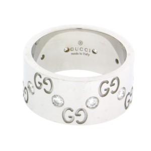 Gucci 18K White Gold Eternity Diamond Icon Wide Band
