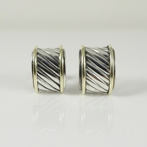David Yurman Cable 14K Yellow Gold 925 Sterling Silver Earrings