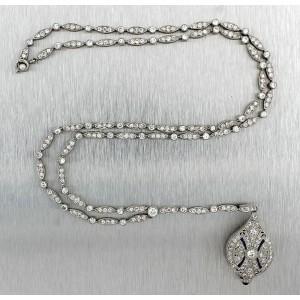 Vintage Art Deco 950 Platinum 7.25ctw Sapphire Diamond Filigree 35mm Watch Necklace
