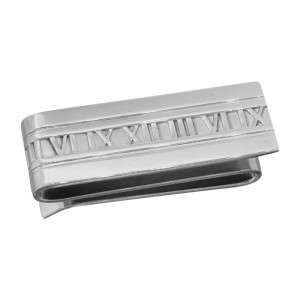 Tiffany & Co. Sterling Silver Atlas Stencil Roman Numerals Double Money Clip