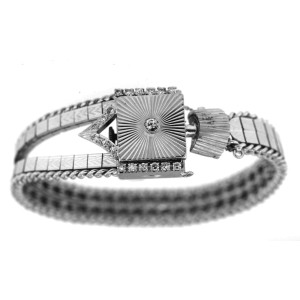 Dobbs Diamond 14k White Gold Vintage Watch & Band 17 Jewel