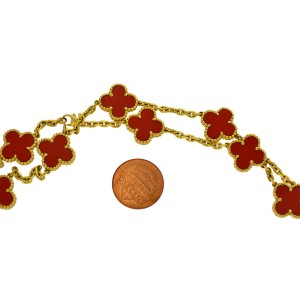 Van Cleef & Arpels 18k Yellow Gold Red Coral Alhambra 20 Motif Necklace