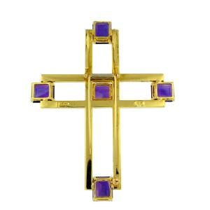 Cartier Amethys 18K Yellow Gold Vintage Large Cross Pendant