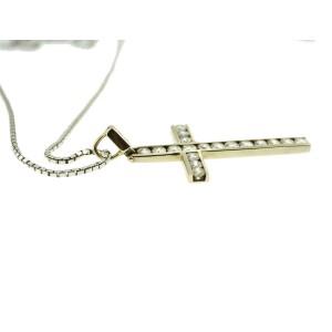 14K White Gold Diamond Cross Pendant Charm Necklace