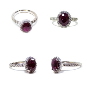 18K White Gold Diamonds & Ruby 18K Gold Ring