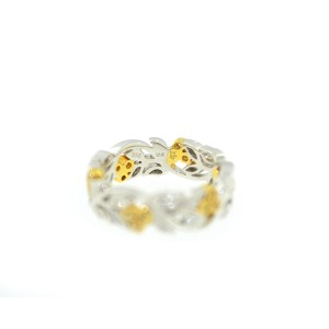 18K White Gold And Yellow Gold Diamond Filigree Ring