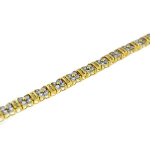 14K Yellow Gold Tanzanite And Diamond Flower Tennis Bracelet