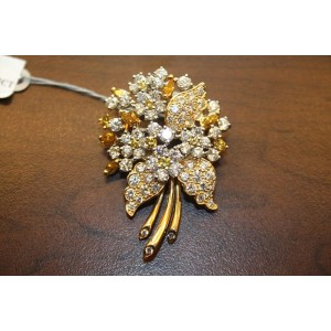 Oscar Heyman 18K & Platinum Fancy Yellow & White Diamonds Pin