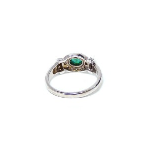 14K White Gold Pave Diamonds With Emerald On The Center Ring
