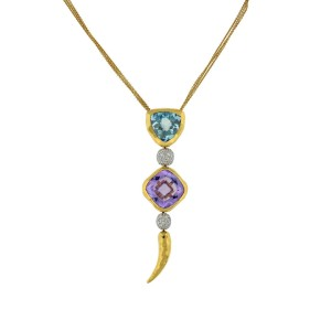 18K Yellow Gold Chili Pepper Topaz, Amethyst And Diamond Balls Pendant Necklace